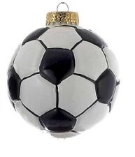 Kurt Adler Sports Collection-SOCCER Ball Glass Christmas Ornament