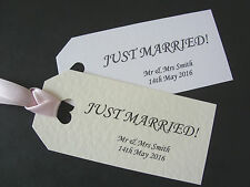 Just Married Personalised Wedding Favour Tags x 12 White or Ivory