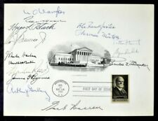 RARE EARL WARREN 1962 Supreme Court Autographed Card Engraving w/ 14 CO-SIGNERS