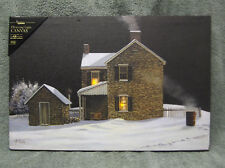 Winter's Night Farm House Fire Snow Lighted Canvas Wall Decor Sign Has a Timer