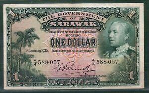 Sarawak P-20 1920 1 Dollar VF Rare