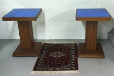 Pair of Art Deco Walnut Tables with Blue Mirrored Glass Tops ca. 1940's