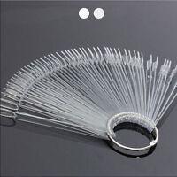 50 False Display Nail Art Fan Wheel Polish Practice Tip Sticks Design Decor BB