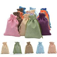 13*18cm Lot 50 Drawstring Bag Jewelry Candy Linen Storage Bag Party Wedding Gift