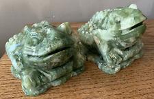 (2) Vintage China Or Japan Jade 3-Legged Frog Sculpture Coin Holder Carved