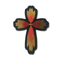 Christian Cross Red Yellow Flower Petal Sew or Iron on Patch Biker Patch