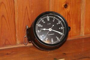 "M Low US Navy Mark 1 Deck Clock  6"" Dial Post WW 2, Korea, Vietnam Running"