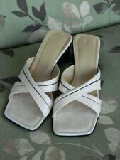 Kenneth Cole Beige & Black Leather Criss-Cross Slides/Sandals Size 6.5 EUC Italy