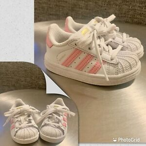 ADIDAS Superstar sneakers shoes 4 toddler Kids Girls pink/white Classic