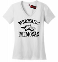 Mermaids and Mimosas Ladies V-Neck T Shirt Cute Graphic Tee Alcohol Party Tee Z5