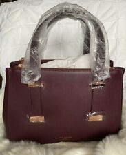 Ted Baker Alyssaa Faceted Bow Small Leather Tote Bag Deep Purple RRP £185