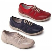 Padders JULIE Ladies Womens Leather Extra Wide (3E/4E) Casual Trainer Shoes