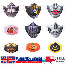 Halloween Scary Skull 3D Kid Adult Face Mask Mouth Protection Cover Reusable UK