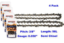 """16 Inch 3/8"""" Pitch 0.050'' Gauge Semi Chisel Chainsaw Chain 56 Links (4PCS)"""
