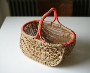 Vintage cane wicker basket with orange trim to handle + rim Display Shopping