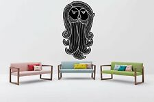 Wall Vinyl Sticker Mural Decal Curls Ringlets Folk Wisdom Beard Logo Head F1269