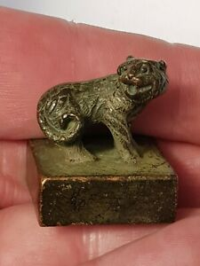 Antique-Chinese-Small Bronzed Copper Desk Seal Figure Of Tiger-Zodiac-circa 1890