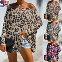 Women's Off Shoulder Leopard Printed T-Shirt Long Batwing Sleeve Tops Blouse US