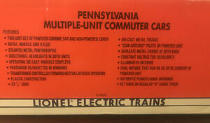 Lionel #18306 Pennsylvania MP54 MU Set, Powered Combine and Coach, NIB, 1992