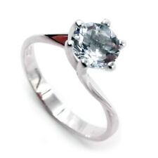 White gold solitaire ring 18 kt. with aquamarine natural for engagement