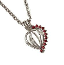 """January Red Gem Pearl Cage with Optional Stainless Steel Chain 18"""" 20"""" 24"""" 28"""""""