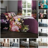 Duvet cover set double single super king with pillowcases printed polycotton new