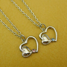 Diamante Love Hearts Pendant Couple Necklace Set Silver Stainless Steel Chain