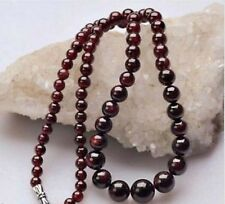 "Real Natural 5-11mm Dark Red Garnet Round Gemstone Beads Necklaces 18"" AA PN368"