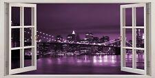 New York City Usa Purple Bridge 3D Effect Window Canvas Picture Wall Art Prints