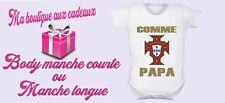 body bébé personnalisé Equipe du Portugal foot , manche courte ou longue