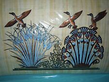Egyptian Authentic Papyrus from Giza-Folk art-Ducks flying over grass field.