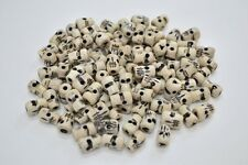 100 DRILLED HOLE CARVED SKULL BUFFALO BONE BEADING BEADS 11MM #BD-2A