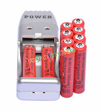 10X AAA 3A 1800mah1.2V NiMH rechargeable battery Red+USB Charger