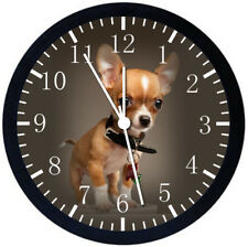 Cute Chihuahua Dog Black Frame Wall Clock Nice For Decor or Gifts E412