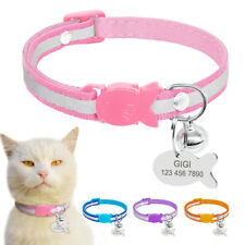 Quick Release Cat Collar Personalized ID Name Tags Reflective Safety Buckle Pink