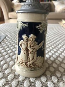 German Ceramic Beer Tankard with Pewter lid 3394 H