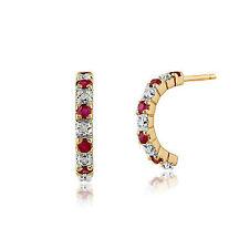 Gemondo Ruby Earrings 9ct Yellow Gold 0.28ct Ruby & 4pt Diamond Half Hoop Style