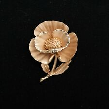 Vintage Signed Trifari Yellow Gold Tone Satin Finish Rose Designer Brooch Pin 2""