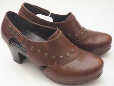 DANSKO Womens Ryder Brown Leather Studded Heeled Clogs Sz 42 11.5 - 12