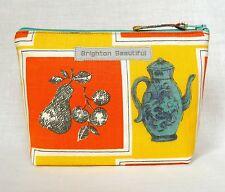 Vintage Fabric Make Up Bag 50s Still Life Kitchenalia Orange & Turquoise 1950s