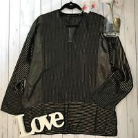 Zara Size S 10 12 black gold metallic loose boxy gold metallic BNWT shirt blouse