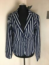 BNWT Next Tailored Pinstripe Blazer Jacket 12 Nautical Cotton Holiday