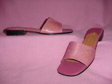 """Medium Pink Leather Slide Sandal w/ Orange Accents """"Quartz"""" by Liz Claiborne 9M"""