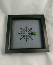 Chaos Symbol Dice Tray - Black + Grey Square Wooden - D&D Dice Tray - Warhammer