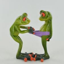 Fishing Small Resin Figurine Great For Home Gift Comical Frogs