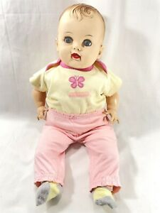 "Vtg 1950s Effanbee Baby Cuddle-Up Doll Oil Cloth Body Large 22"" Sleepy Eyes"