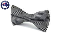 Men's Bowtie Grey Stripes Plaids Wedding Men Pre Tied Bow Tie Groomsmen Bow Tie