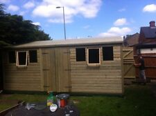 20x10ft Wooden Tanalised Ultimate Apex Garden Shed/Office/Garage 19mm T/G
