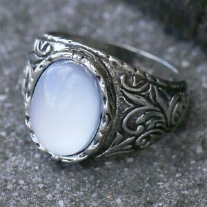 New Fashion Flowers Ring White Moonstone Gems Men Wedding Party Jewelry Size7-13