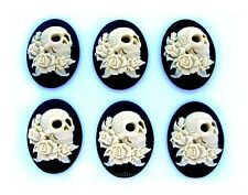 & Tattoos on Black 40mm x 30mm Cameos 6 Goth Emo Punk Ivory Color Skull w/ Roses